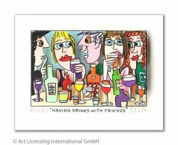 James Rizzi | Having drinks with friends (gerahmt)