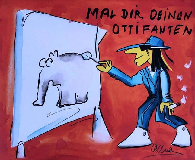 Otto Waalkes Mal Dir Deinen Ottifanten (Leinwand)