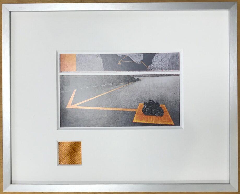 Christo   The Floating Piers - gerahmter Miniprint 5 mit Originalstoff