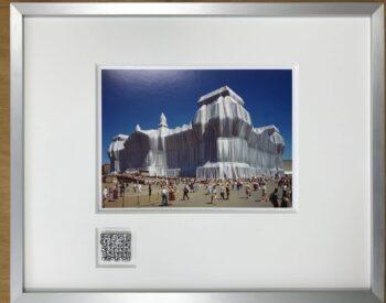 Christo | Reichstag 2 - gerahmter Miniprint mit Originalstoff