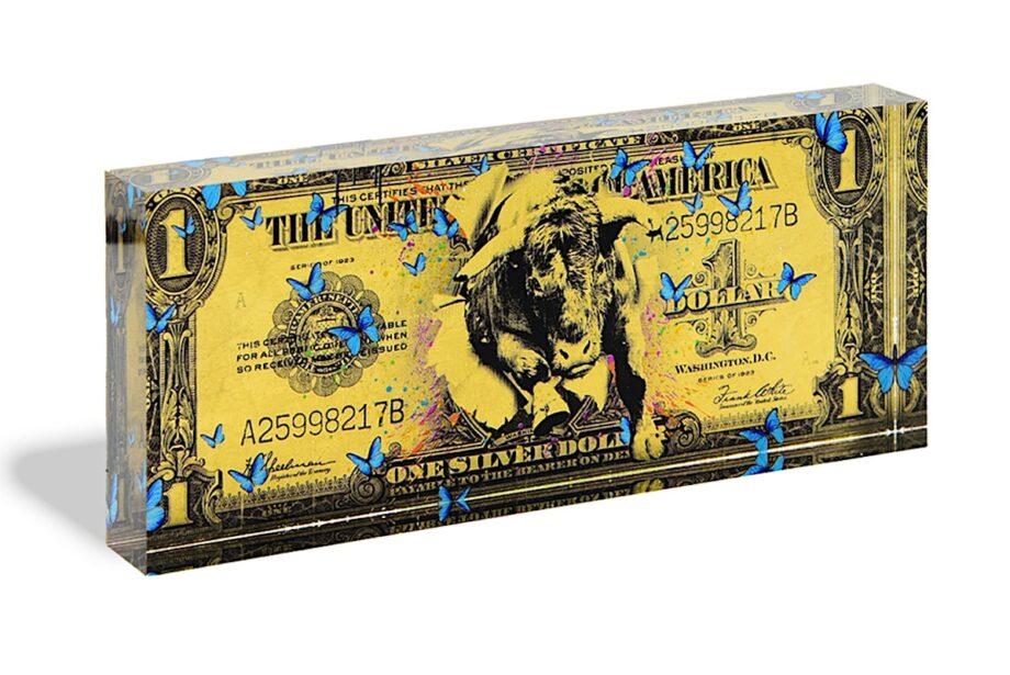 Devin Miles One Dollar gold Acrylblock
