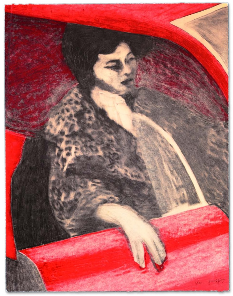 James Francis Gill Woman in red car