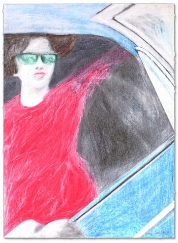 James Francis Gill woman with red dress in blue car