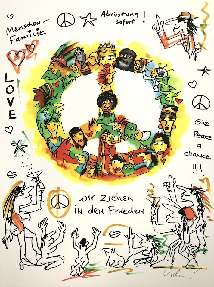 Udo Lindenberg Wir ziehen in den Frieden handübermalt