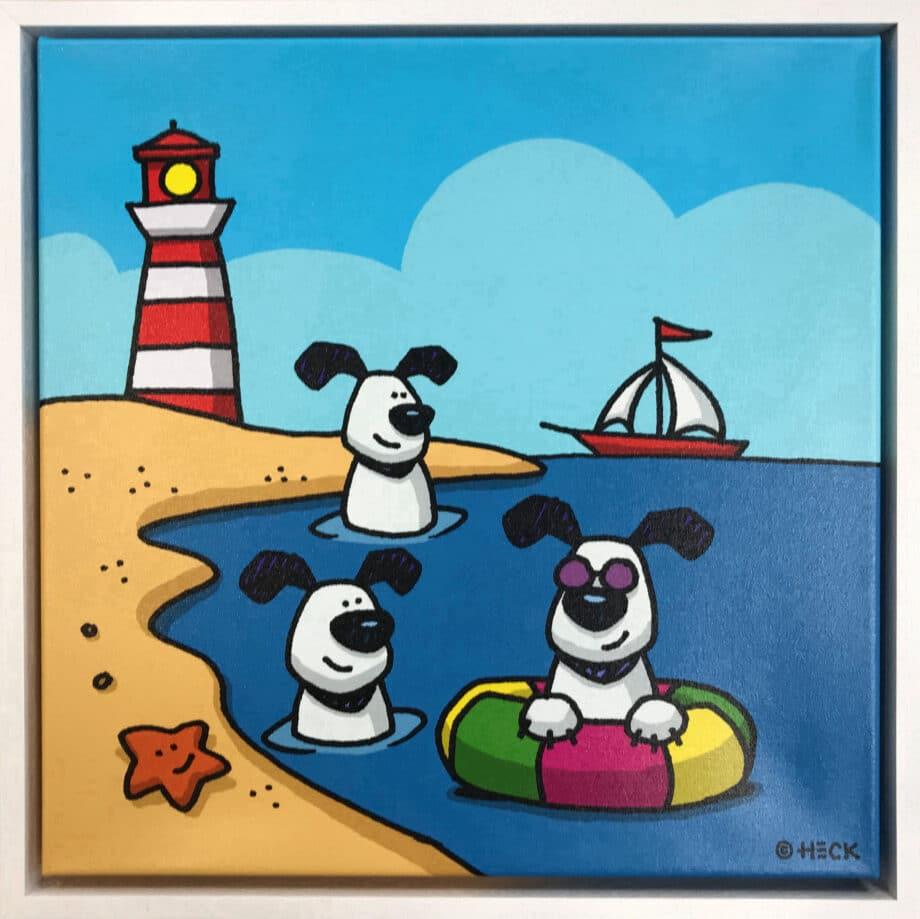 Ed Heck Dogs of Summer gerahmt