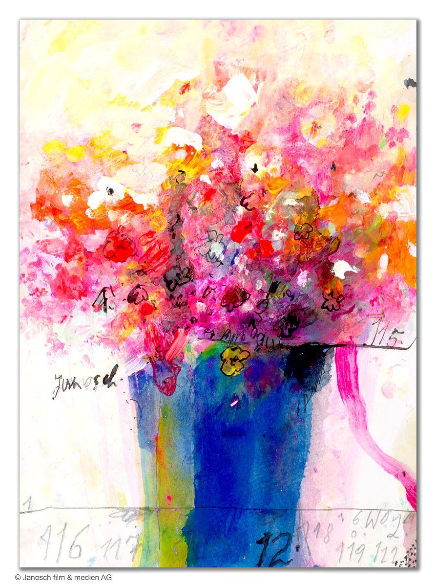 Janosch Blumenstrauß mit blauer Vase