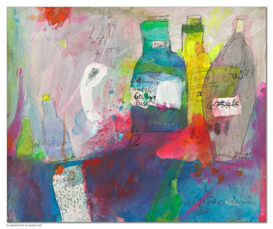 Janosch Stilleben mit Flaschen