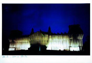Christo Reichstag Westfassade tiefe Nacht