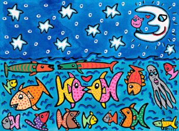 James Rizzi The stars, the moon and the fish in the sea